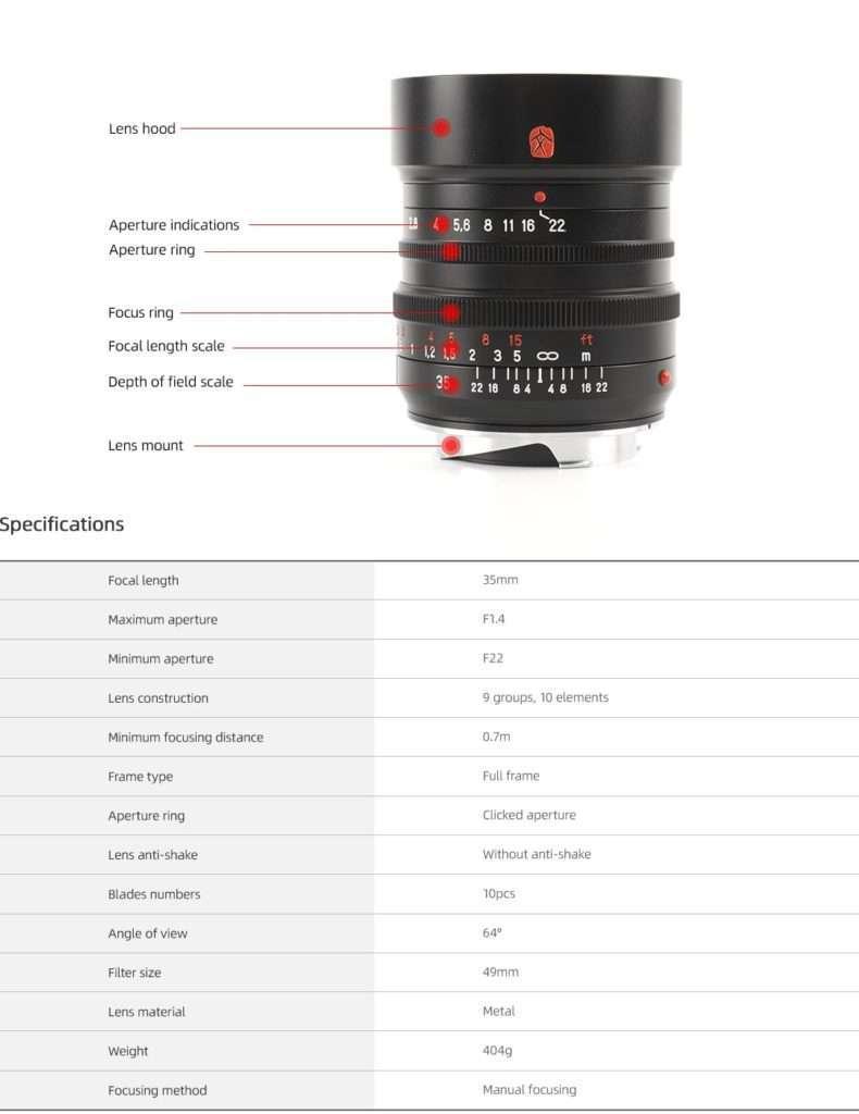 7artisans 35mm f1.4 specs spesifikasjoner